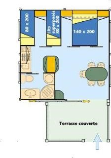 Chalet Gitotel Morea 25m², 5 people 2 rooms and covered terrace nantes