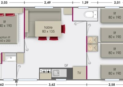Mobile home Lodge 6 people, 3 rooms and wooden terrace